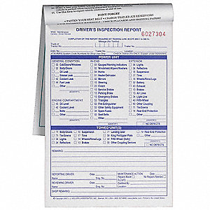 Vehicle Inspection Form,3 Ply,Carbonless
