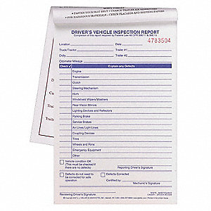 Vehicle Inspection Form,2 Ply,Carbonless