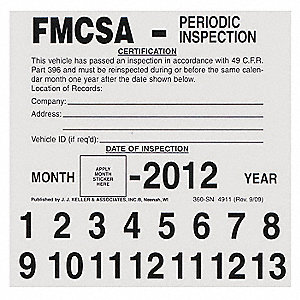 FMCSA Periodic Inspection Label,5 x 5 In