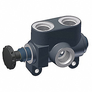 "6-5/8"" x 2-5/8"" x 4"" 3-Way, 2 Position Hydraulic Selector Valve"
