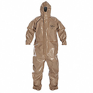 Hooded Chemical Resistant Coveralls with Elastic Cuff, Tan, 5XL, Tychem® CPF 3