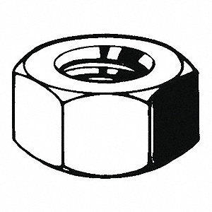 M5-0.80 Hex Nut, Zinc Plated Finish, Class 10 Steel, Right Hand, DIN 934, PK100