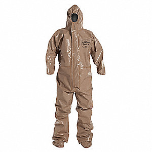 Hooded Chemical Resistant Coveralls with Elastic Cuff, Tan, S, Tychem® CPF 3