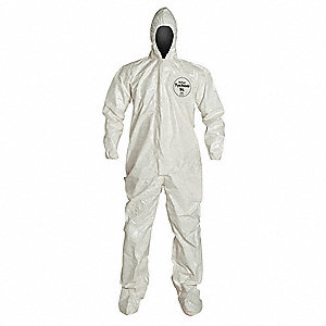 Hooded Chemical Resistant Coveralls with Elastic Cuff, White, XL, Tychem® SL