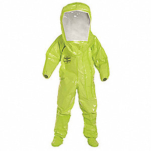 Level B Front-Entry Encapsulated Suit, Lime Yellow, Size 4XL, Tychem® TK