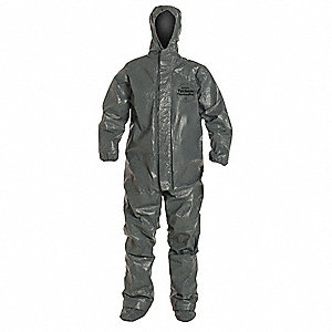 Hooded Chemical Resistant Coveralls with Elastic Cuff, Gray, 5XL, Tychem® ThermoPro