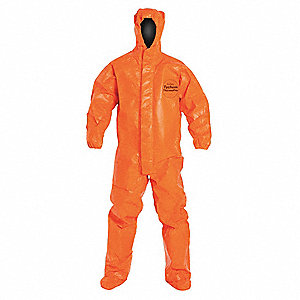 Hooded Chemical Resistant Coveralls with Elastic Cuff, Orange, S, Tychem® ThermoPro