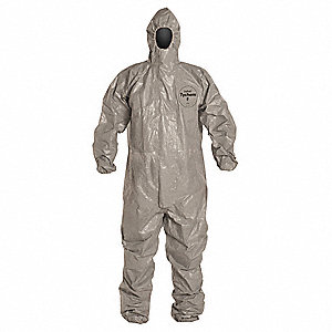 Hooded Chemical Resistant Coveralls with Elastic Cuff, Gray, 4XL, Tychem® F
