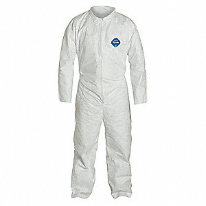 Collared Disposable Coveralls with Open Cuff, White, 5XL, Tyvek®