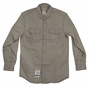"Gray Flame-Resistant Collared Shirt, Size: L, Fits Chest Size: 42"" to 44"", 8.6 cal./cm2 ATPV Rating"
