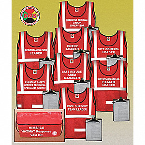 Hazmat Hook-and-Loop Safety Vest, Type P, Class 2, Red, Universal
