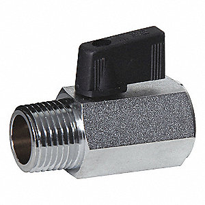 "Lead-Free Nickel Plated Brass FNPT x MNPT Mini Ball Valve, Wedge, 1/2"" Pipe Size"
