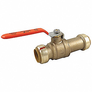 "Lead-Free Brass Push x Push Ball Valve, Lever, 1"" Pipe Size"