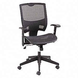 "Black Mesh Desk Chair 18-1/2"" Back Height, Arm Style: Adjustable"