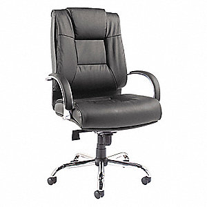 "Big/Tall Chair,Leather,Blk,19-22""Seat Ht"