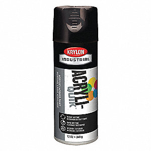 Acryli-Quik Spray Paint in Gloss Black for Metal, Steel, Wood, 12 oz.