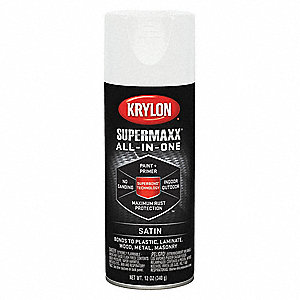 Super MAXX Spray Paint in Satin White for Ceramic, Glass, Metal, Plastic, Wood, 12 oz.