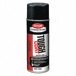 Tough Coat Rust Preventative Spray Paint in Satin High Heat Black for Metal, Steel, 12 oz.