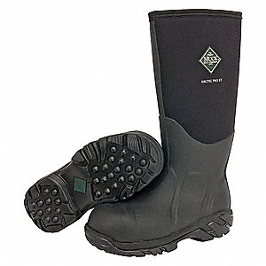 "16""H Unisex Insulated Boots, Steel Toe Type, Neoprene Upper Material, Black, Size 7"
