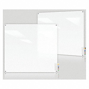 "Gloss-Finish Glass Dry Erase Board, Wall Mounted, 48""H x 48""W, Frosted White"