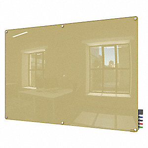 "Gloss-Finish Glass Dry Erase Board, Wall Mounted, 48""H x 72""W, Beige"