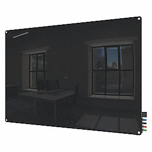 "Gloss-Finish Glass Dry Erase Board, Wall Mounted, 36""H x 48""W, Black"