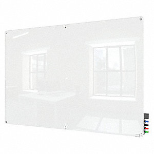 "Gloss-Finish Glass Dry Erase Board, Wall Mounted, 48""H x 72""W, White"
