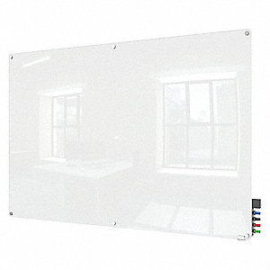 "Gloss-Finish Glass Dry Erase Board, Wall Mounted, 48""H x 96""W, White"