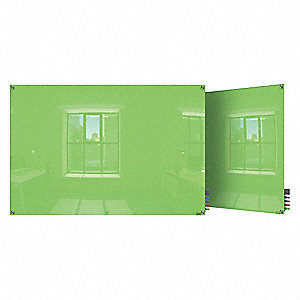 "Gloss-Finish Glass Dry Erase Board, Wall Mounted, 24""H x 36""W, Green"