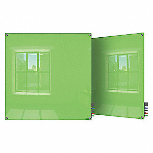 "Gloss-Finish Glass Dry Erase Board, Wall Mounted, 48""H x 48""W, Green"
