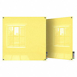 "Gloss-Finish Glass Dry Erase Board, Wall Mounted, 48""H x 48""W, Yellow"