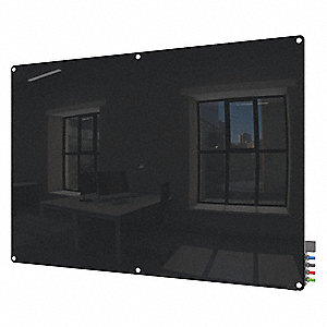 "Gloss-Finish Glass Dry Erase Board, Wall Mounted, 48""H x 72""W, Black"