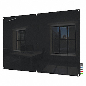 "Gloss-Finish Glass Dry Erase Board, Wall Mounted, 48""H x 96""W, Black"
