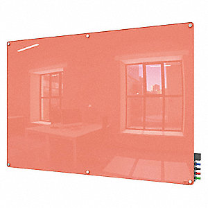 "Gloss-Finish Glass Dry Erase Board, Wall Mounted, 48""H x 72""W, Peach"