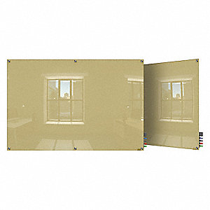 "Gloss-Finish Glass Dry Erase Board, Wall Mounted, 24""H x 36""W, Beige"