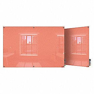 "Gloss-Finish Glass Dry Erase Board, Wall Mounted, 48""H x 96""W, Peach"