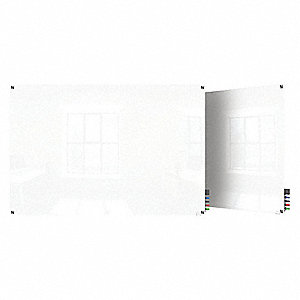 "Gloss-Finish Glass Dry Erase Board, Wall Mounted, 24""H x 36""W, White"