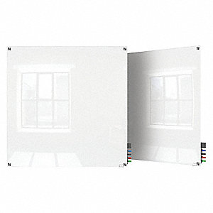 "Gloss-Finish Glass Dry Erase Board, Wall Mounted, 48""H x 48""W, White"