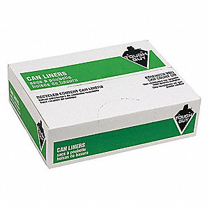 45 gal. Black Recycled Trash Bags, Super Heavy Strength Rating, Box, 100 PK