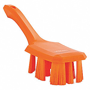 "10""L Polyester Short Handle Scrub Brush, Orange"