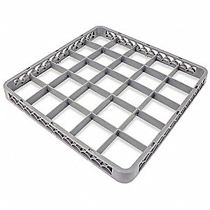 "19-1/2"" x 19-1/2"" x 1-1/2"" Plastic Rack Extender with 25 Compartments, Gray"