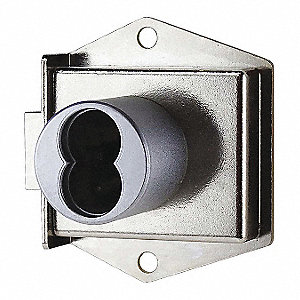 Right Cabinet Dead Latch with Interchangeable Core, For Door Thickness (In.): 1-1/16, Brushed Chrome
