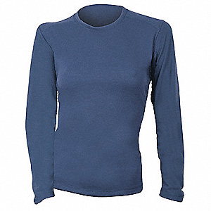 "Navy Women's Flame-Resistant Crewneck Shirt, Size: XLT, Fits Chest Size: 42"" to 43"", 5.0 cal./cm2 AT"