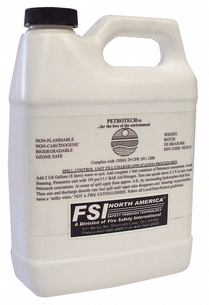 Petrotech Cleaning and Degreasing  Spill Control Product,  4L,  For Use With Decon Shower,  PK 4