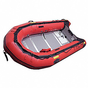 Transom Style Rescue Boat,Red,12 ft.