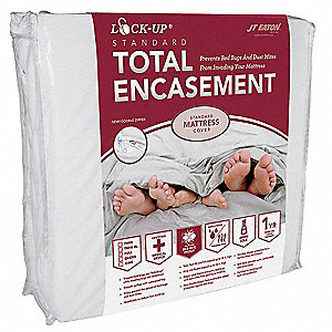 TwinXL Stretch Knit Lock-Up Mattress Encasement, White