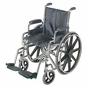 Wheelchair,250 lb,18 In Seat,Silver