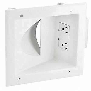 White Audio/Video Wall Plate, Plastic, Number of Gangs: 1