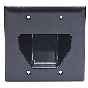 Black Audio/Video Wall Plate, Plastic, Number of Gangs: 2, Cable Type: Cable/Recessed