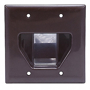 Brown Audio/Video Wall Plate, Plastic, Number of Gangs: 2